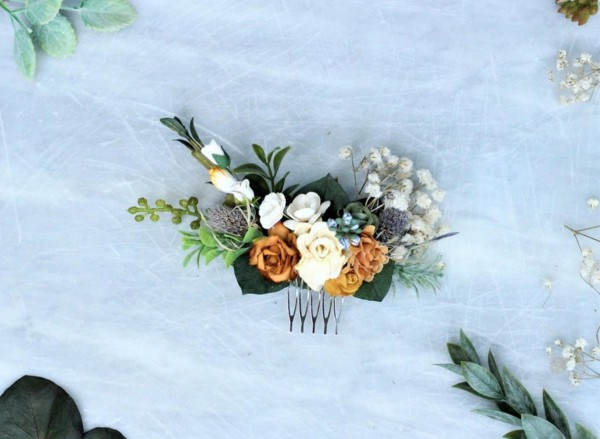 Boho mustard flower hair comb blue thistle bridal piece eucalyptus