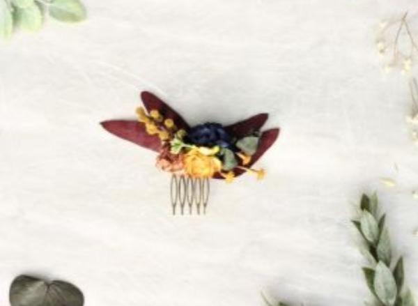 Fall flower hair comb eucalyptus hair piece navy