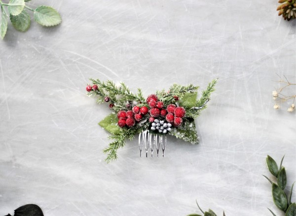Christmas hair comb greenery - Winter wedding red flower hair piece