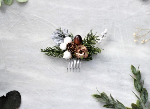 Winter wedding floral hair comb- Rustic bridal hair comb holiday