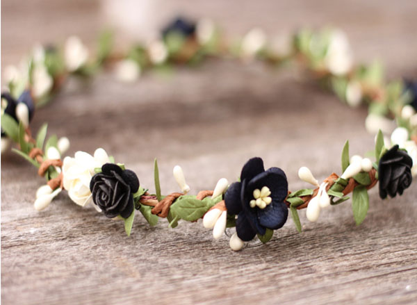 Flower Crown Wreath in Black and Ivory Flower Crown Hair Garland