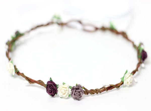 Fall Wedding Hair Accessories Lavender and Plum Flower Hair Crown