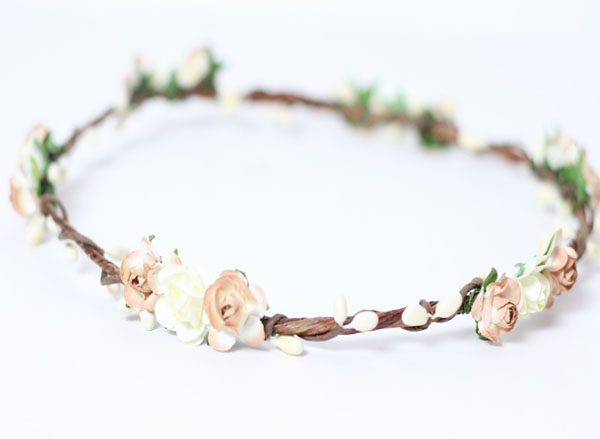 Wedding Flower Crown Rustic Flower Girl Woodland Bridal Crown Garland Flower Hair wreath