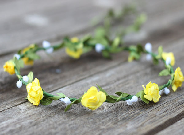 Yellow Floral Crown Garland Coachella Flower Crown | Wedding Flower Crown