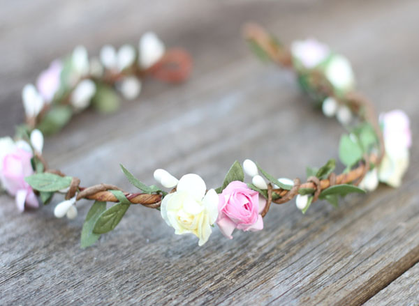 Pink Floral Crown Halo Headpiece Handmade Pink Rose Head Wreath