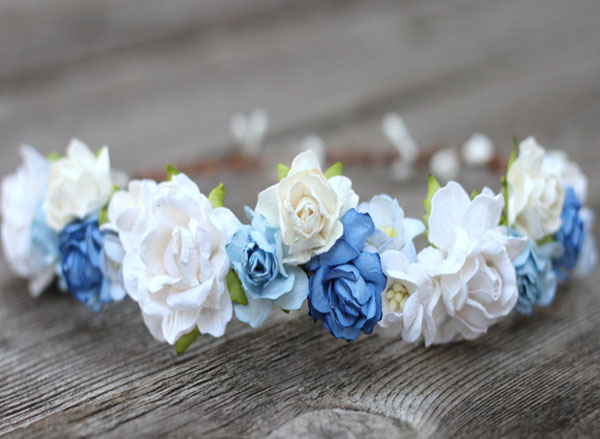 Floral Headband Blue Cobalt Wedding Flower Crown White Rose Hair Crown