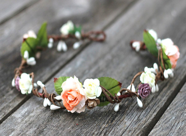 Bohemian Headpiece Peach Floral Crown Earth Tone Flower Leaf Hair Crown bridal