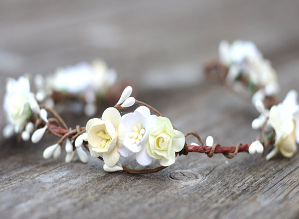 Wedding Hair Crown Boho Floral Crown White Hair Accessories Bride