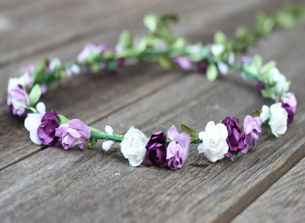 Floral Crown Purple Flower Crown Wedding Headband Rose Head Crown