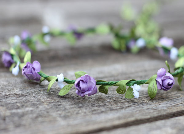 Purple Flower Crown Hair Garland Coachella Floral Crown | Wedding Flower Crown