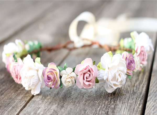 Dusty Mauve Pink Wedding Flower Crown Headpiece
