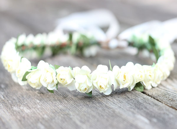 Ivory Flower Crown Halo Rose Bridal Head Wreath