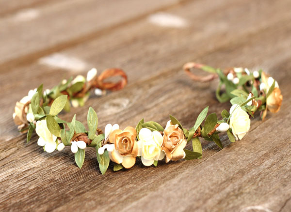 Rustic Wedding Earth Tone Flower Crown Ivory and Gold with Greenery Garland Bridal Headband