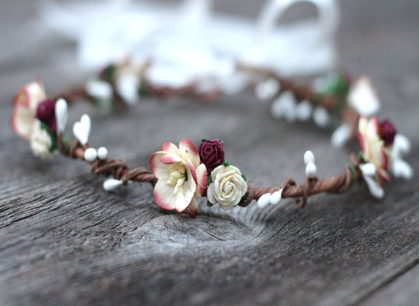 Flower Crown Headband Burgundy Ivory Rustic Floral Hair Wreath Wedding