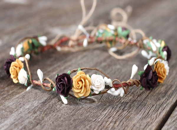 Rustic Flower Crown Boho Hair Accessories in Deep Plum Roses Gold and White Floral Headpiece