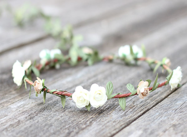 Ivory Flower Crown Wedding Hair Wreath Earth Tone Floral Crown Garland