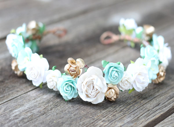 Mint and Gold Flower Crown Wedding Headband Ivory