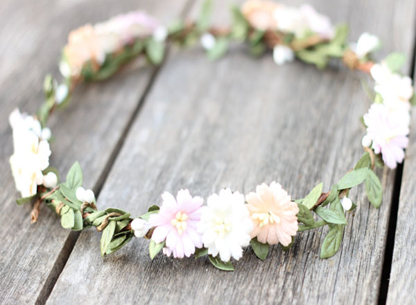 Wedding Flower Crown Pale Peach and Blush Floral Hair Crown Bridal Pastel Headpiece