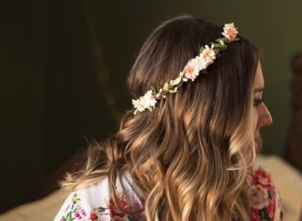 Floral Hair Garland Peach Ivory Blush Flower Crown Headpiece
