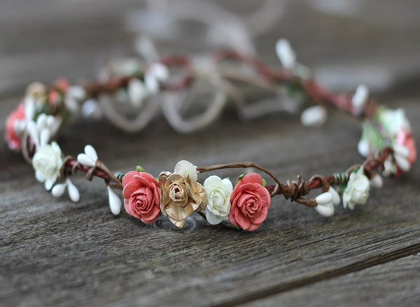 Coral Wedding Boho Floral Crown Gold Ivory Flower Crown Headband