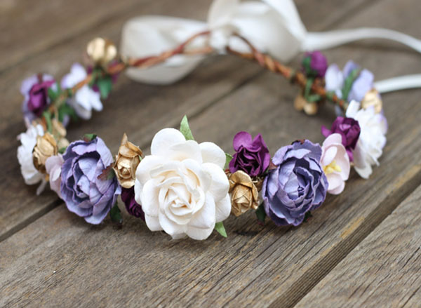 Bridal Hair Accessory in Plum Purple Ivory and Gold Flower Headpiece