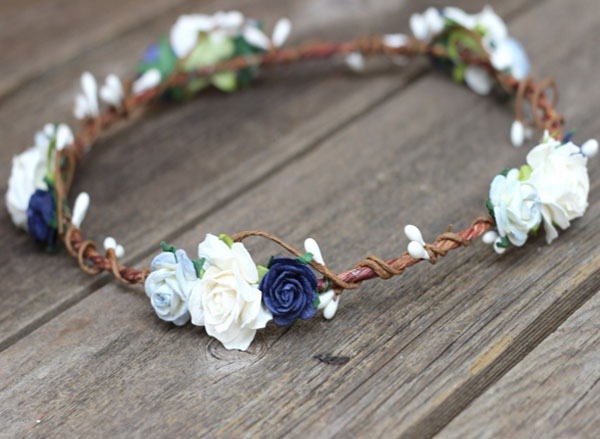 Dusty Navy Blue and Ivory Flower Crown Headpiece Navy Wedding Floral Crown