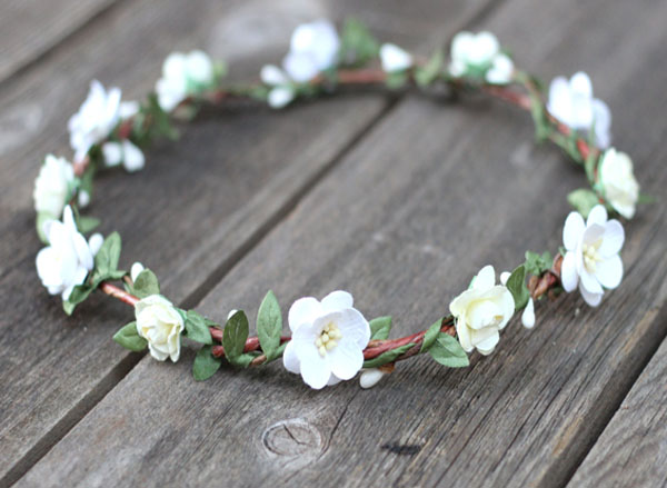 Flower Crown Boho Leaf Crown Wedding Greenery Hair Wreath Ivory