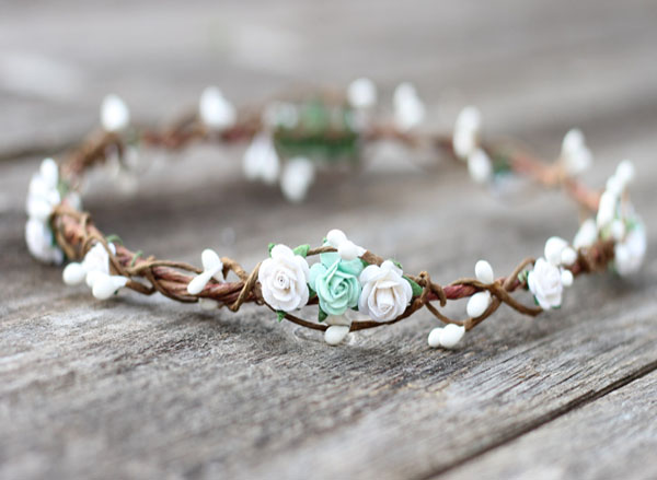 Mint and White Flower Crown Head Wreath Spring Wedding
