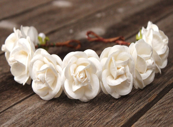 Oversized Flower Crown White Wedding Headband Adult