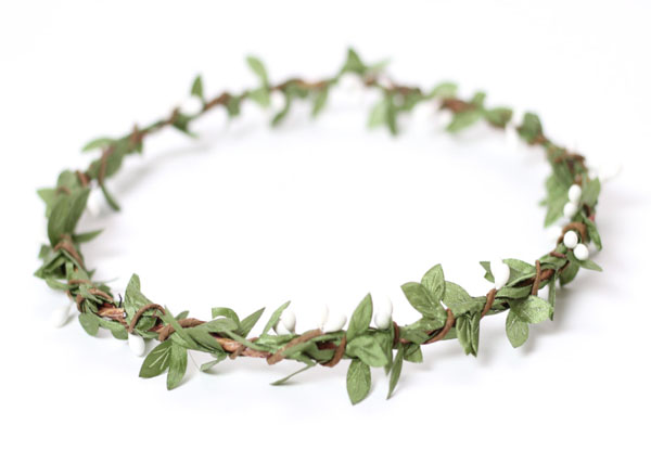 Green Leaf Crown Hair Wreath Greenery Headpiece Wedding