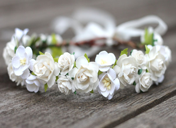 Maternity Flower Crown White Headband Ivory Wedding Hair Crown