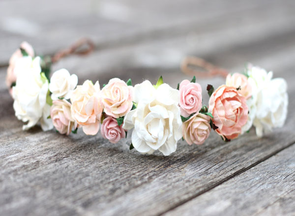 Soft Blush Peach Wedding Flower Crown Headband Bridal Girl Floral Headpiece