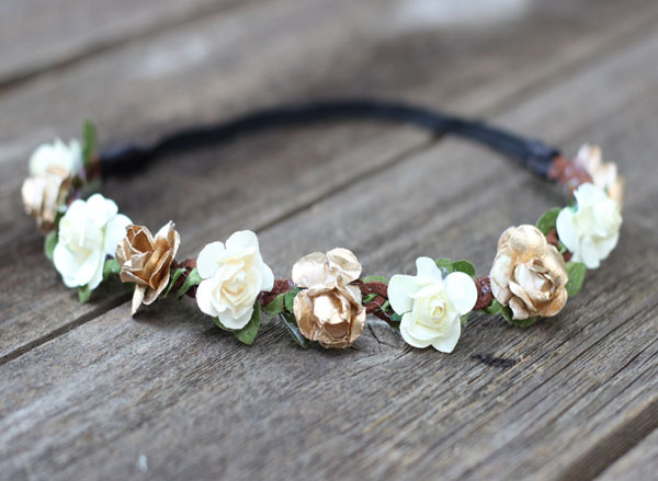 Gold and Ivory Rustic Flower Crown Headband with elastic back