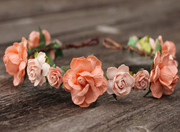 Peach Wedding Flower Crown Headpiece Rose Head Wreath