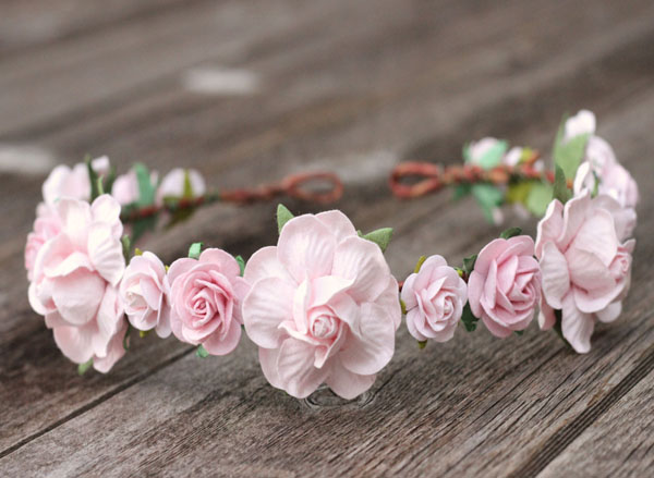 Wedding Floral Headpiece Blush Pink Flower Bridal Flower Crown