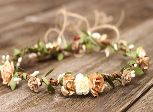 Bohemian Gold Beige and Ivory Flower Crown Leaf Hair Wreath