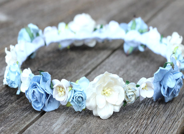 Blue Rose Flower Hair Crown Bridal Floral Head Wreath