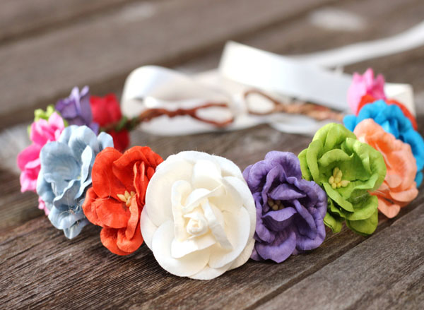 Rainbow oversized flower crown headband Adult