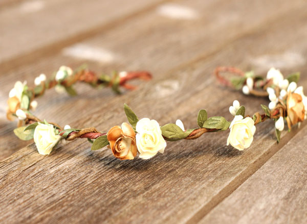 Rustic Floral Crown Headband with Brown and Ivory Roses Greenery Hair Wreath