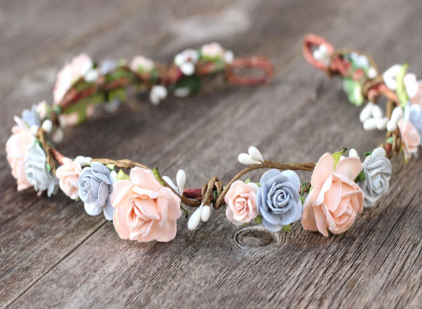 Dreamy Wedding Flower Crown Peach and Grey Bride Headpiece