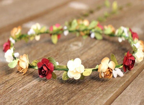 Flower Hair Wreath Greenery with Burgundy Red Rustic Ivory Floral Girl Garland