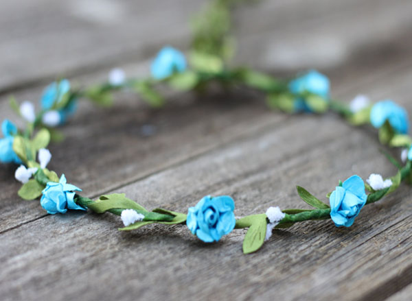 Blue Flower Crown Hair Garland Coachella Floral Crown | Wedding Flower Crown