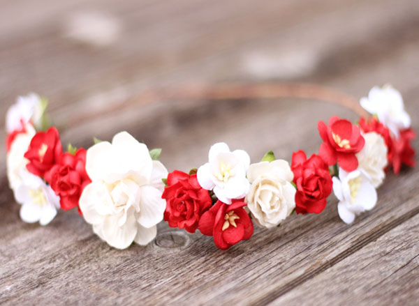 Bridal Flower Crown Red White Rose Hair Crown Floral Headpiece