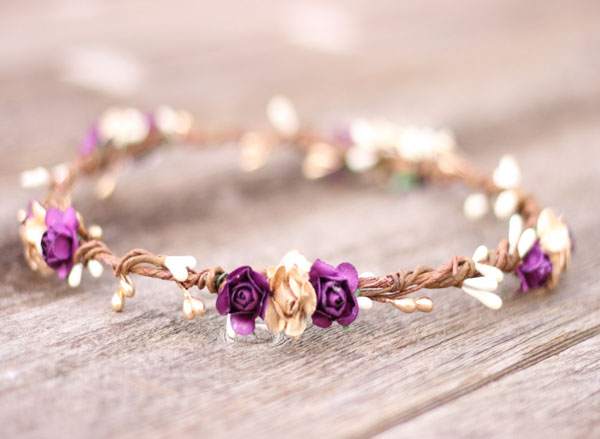 Purple Wedding Flower Crown Headpiece Gold Hair Wreath