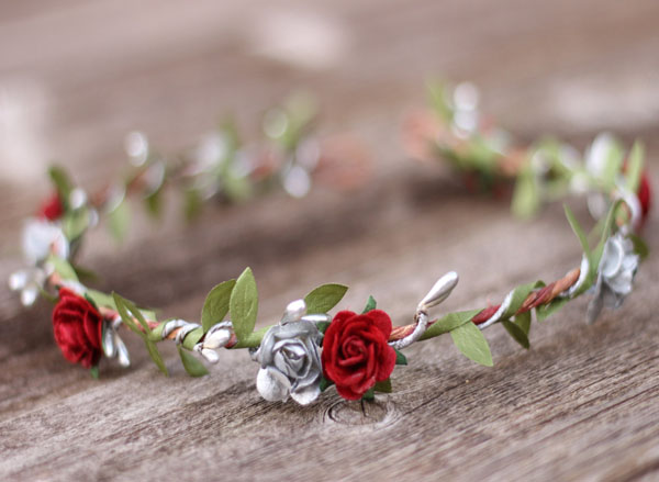silver flower crown and dark red floral fall wedding headband