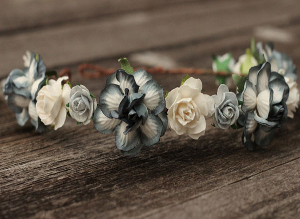 White and Gray Wedding Flower Crown Headband