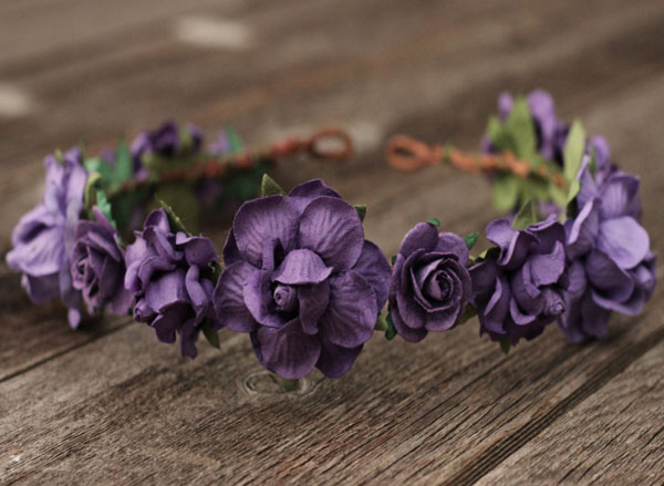 Plum Purple Bridal Flower Crown Headpiece | Wedding Flower Crown