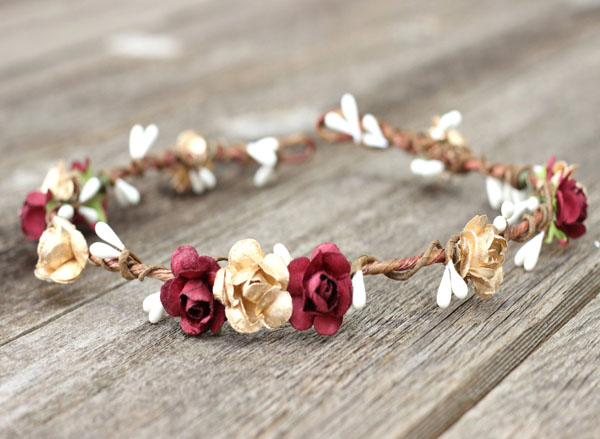 Bohemian Wedding Flower Crown with Burgundy Gold Floral Headpiece Womens