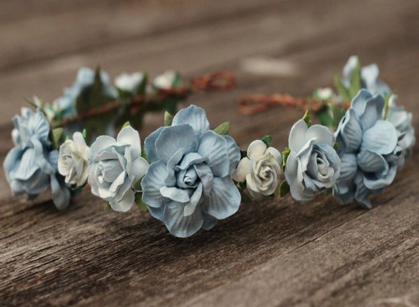 Dusty Blue Wedding Flower Crown Headband