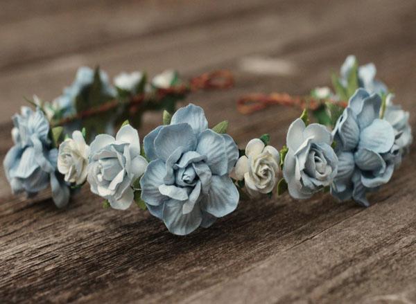 Dusty Blue Wedding Flower Crown Headband Wedding Flower Crown